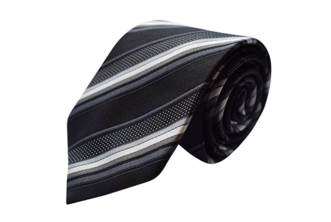 3 folds striped black tie - Archway