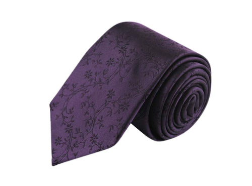 Flower Purple 3 folds tie jacquard - Nicolosi
