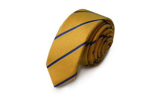 Slim 3 folds stripped yellow tie jacquard - Solbiate