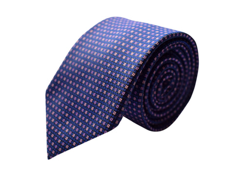 3 folds Classic blue with lilac motifs tie - Arese