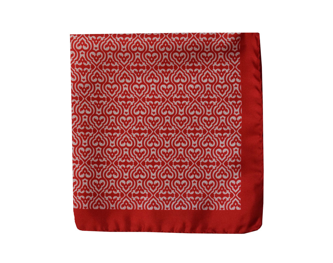 Geometric red Pocket Square - Acate