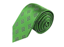 Medallion 3 folds green tie jacquard - Portese