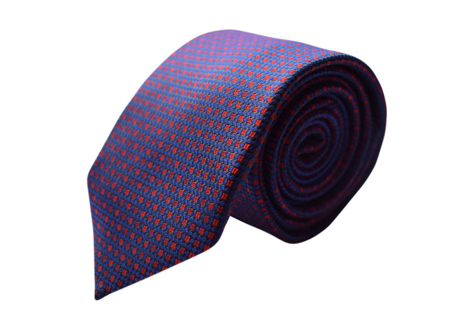3 folds Classic blue with red motifs tie - Arese