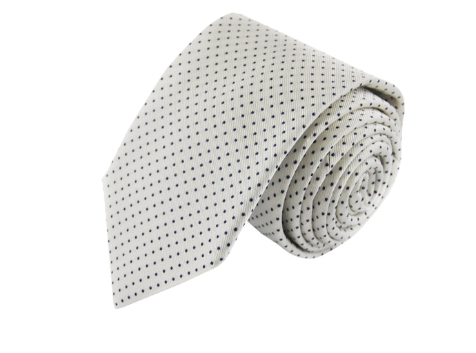 Micro dots 3 folds white tie jacquard - Alessandria