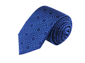 Motif ton on ton blue 3 folds tie jacquard - Lucca