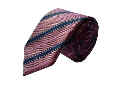 3 folds striped pink tie jacquard - Lione