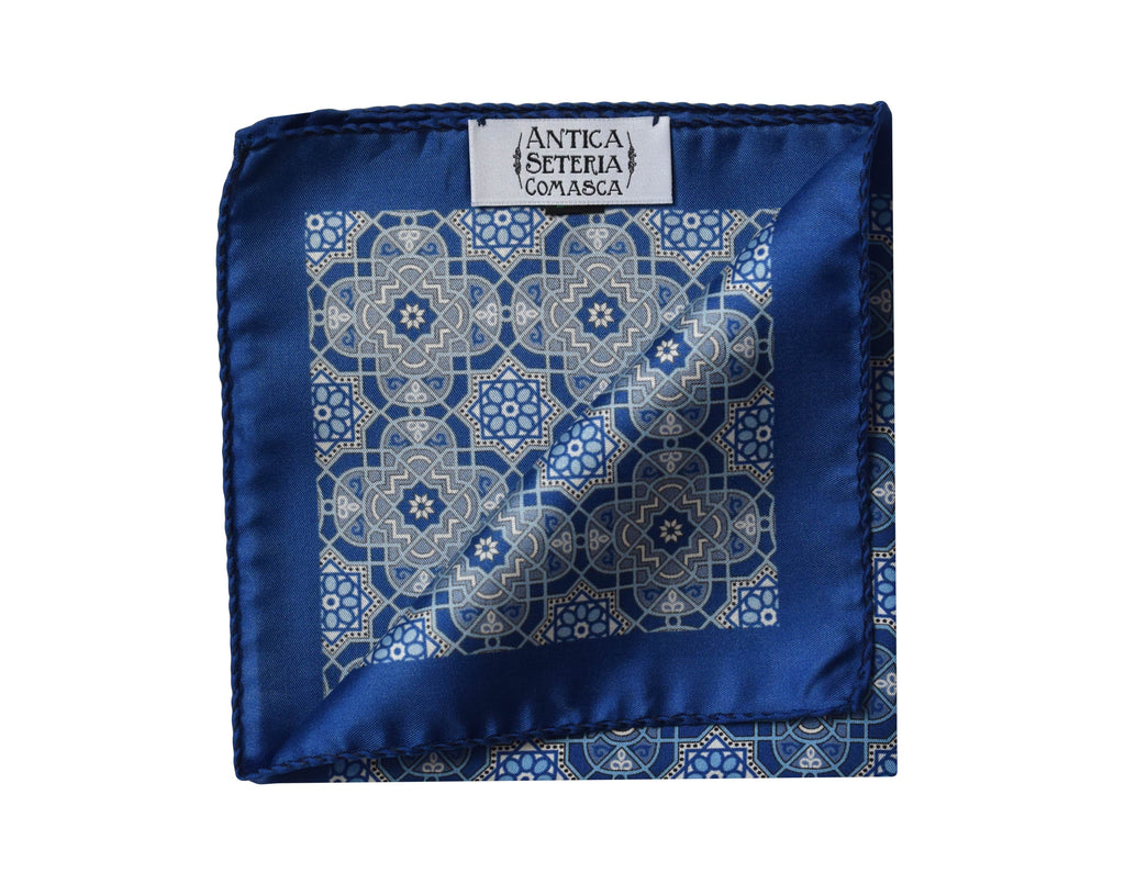 Medallion blue Pocket Square - Augusta