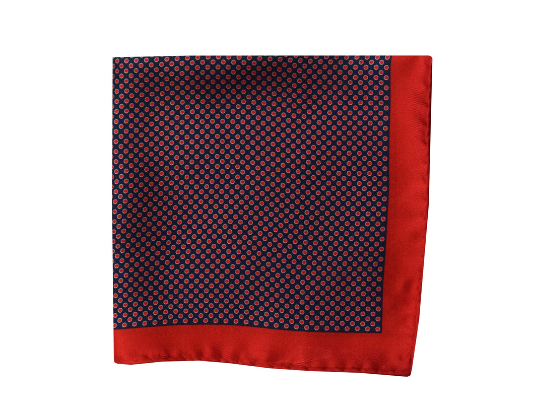 Polkadots navy and red Pocket Square - Zugo