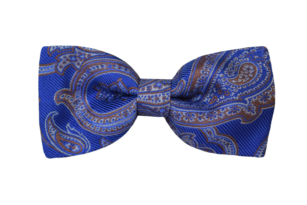 Paisley Pretied Bow tie blue - Torregrotta