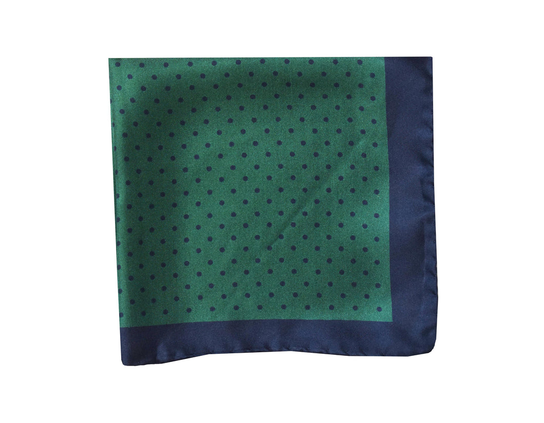 Polkadots green Pocket Square - Brighton