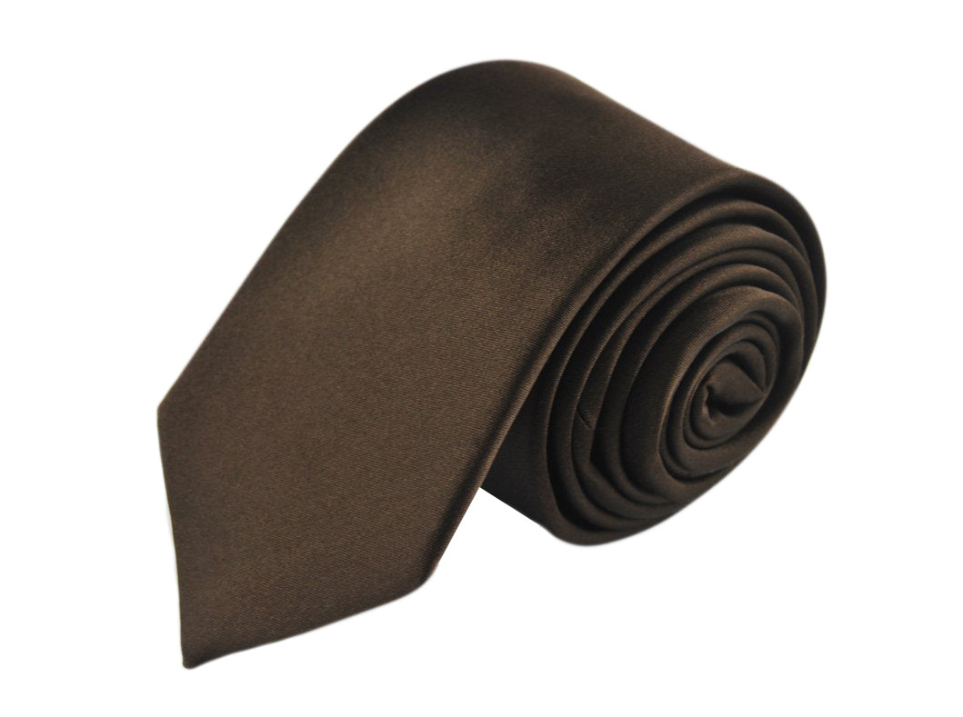 Satin brown 3 folds tie jacquard - Roma