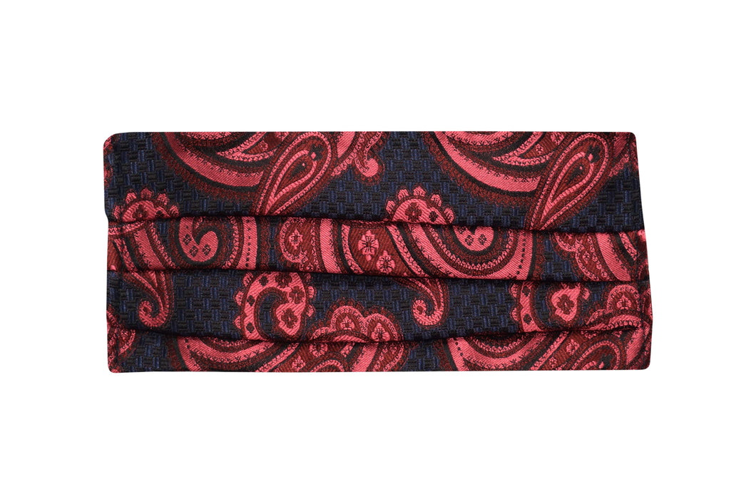 Silk jacquard paisley salmon face mask