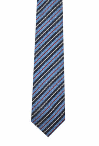 Image of Basket weave navy striped 3 folds tie jacquard - Varazze - Antica Seteria Comasca, Cravatta - Antica Seteria Comasca, Antica Seteria Comasca - Antica Seteria Comasca, seteriacomasca - Antica Seteria Comasca