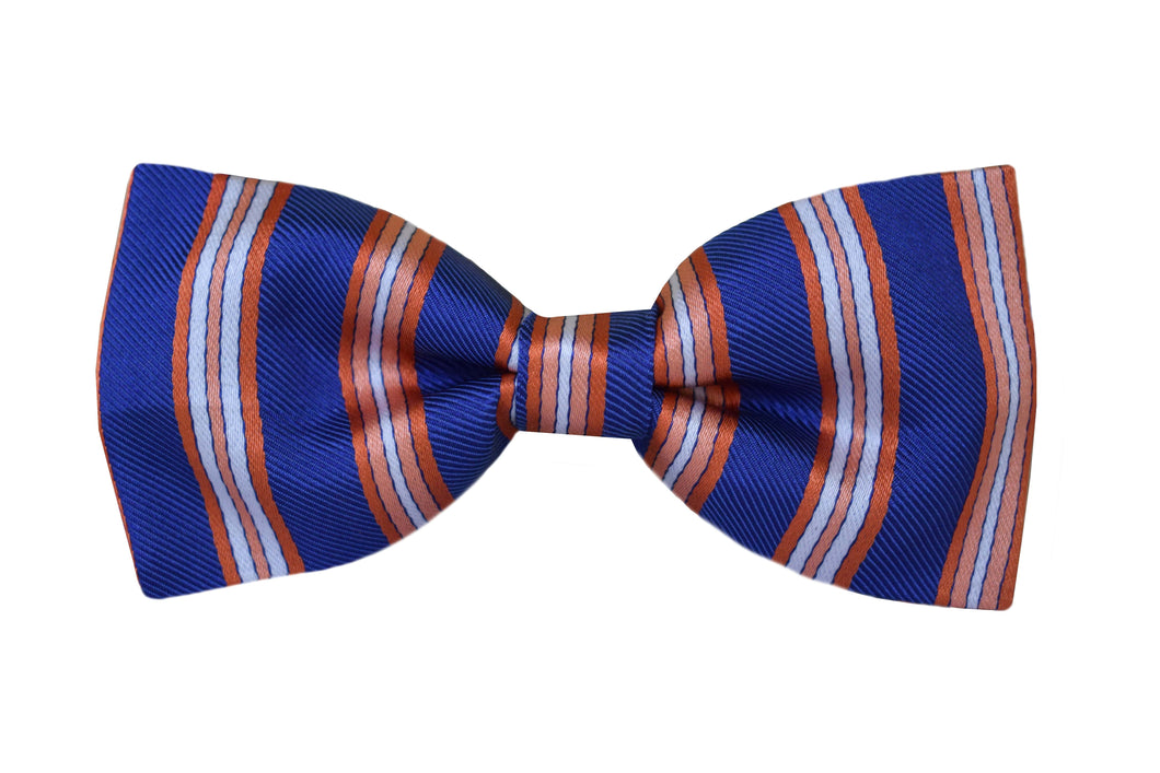 Striped Pretied Bow tie blue - Aosta