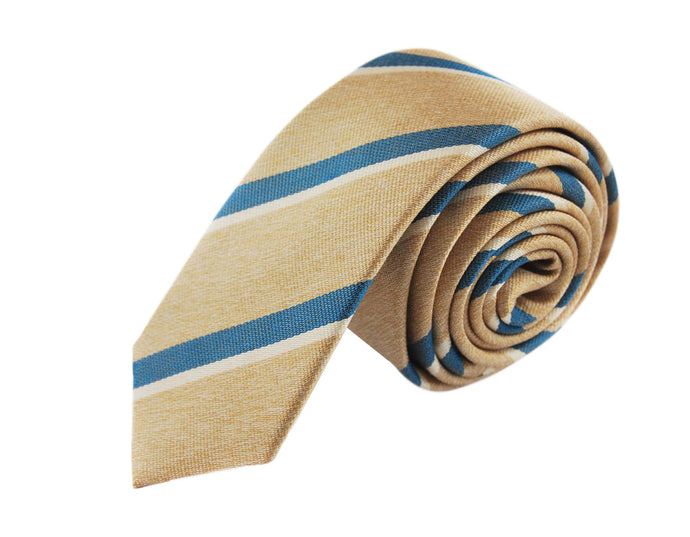 Slim 3 folds Mogador beige tie jacquard - Cambridge