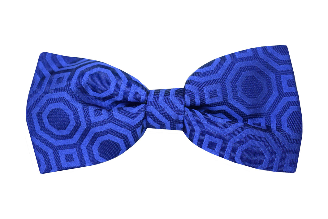 Solid geometric Pretied Bow tie blue - Lucca