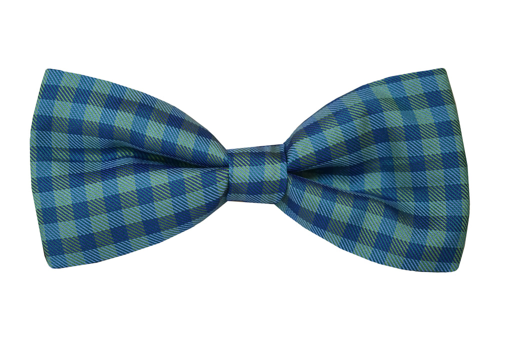 Tartan Pretied Bow tie blue and green - Dosso
