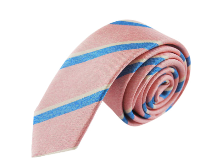 Slim 3 folds Mogador pink tie jacquard - Cambridge
