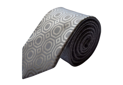 3 folds motif ton on ton silver tie jacquard - Lucca