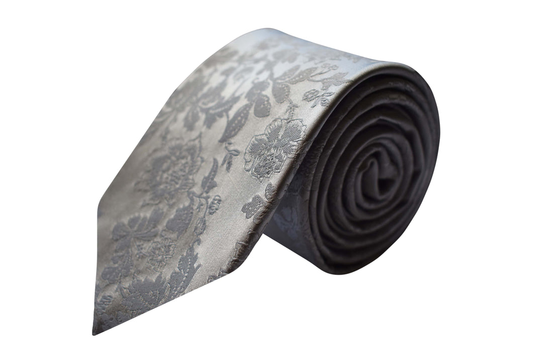 3 folds flower ton on ton silver tie jacquard - Milo