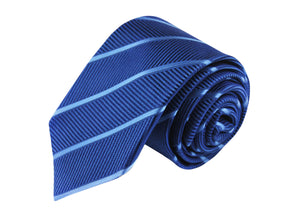 Striped Blue 3 folds tie jacquard - Solbiate