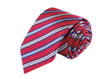 Striped Salmon 3 folds salmon tie jacquard - Aosta