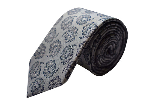 3 folds paisley silver tie jacquard - Beirut