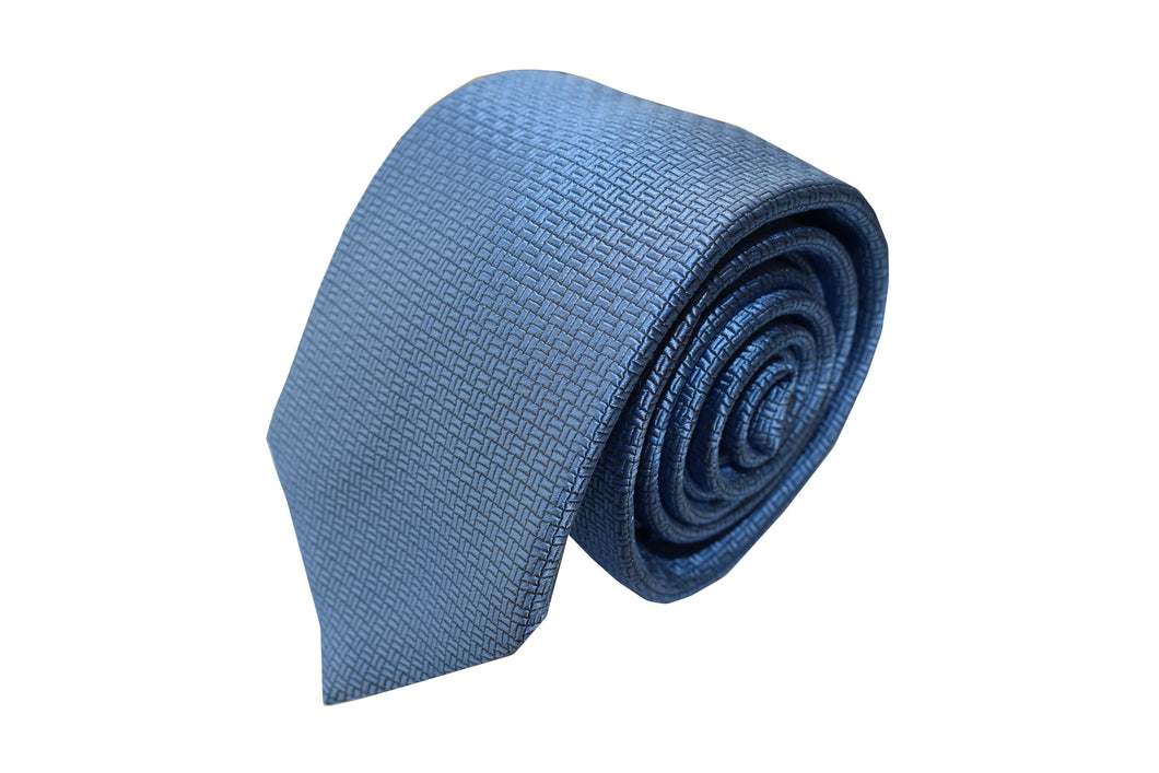 3 folds light blue tie jacquard - Modena