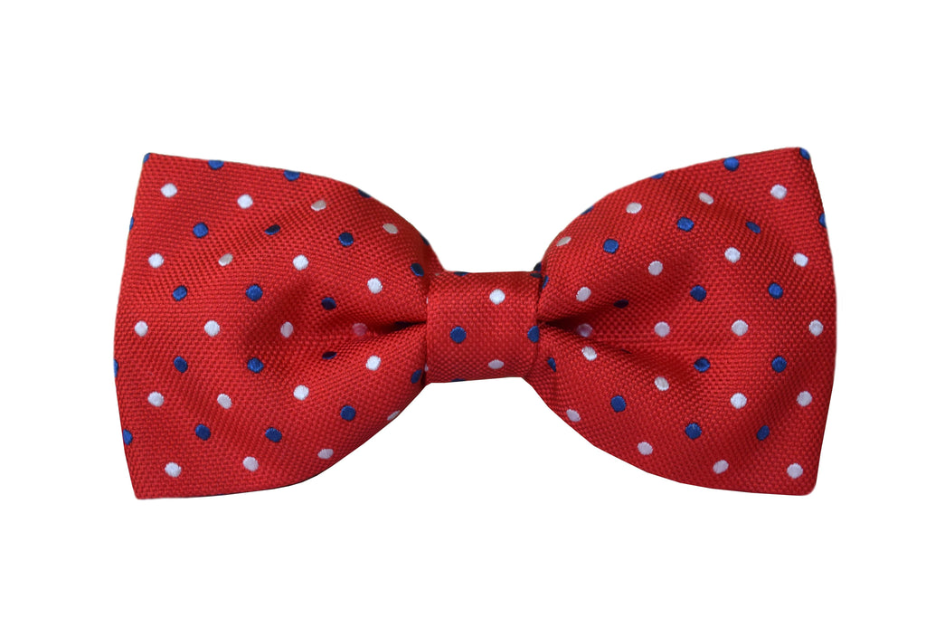 Polka dots Pretied Bow tie red - Cavour
