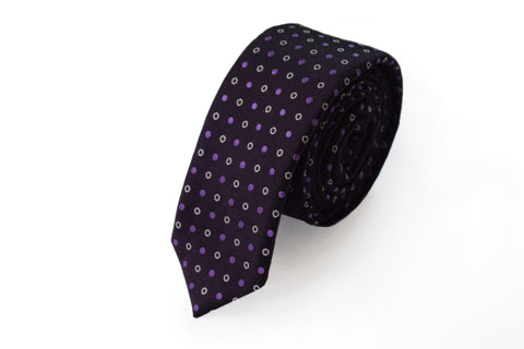 Image of Slim 3 folds polka dots purple tie jacquard - Albavilla II