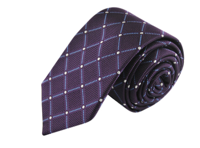 Tartan 3 folds purple tie jacquard - Isola bella
