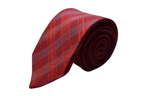 3 folds tartan red tie jacquard silk & wool - Ballagyr