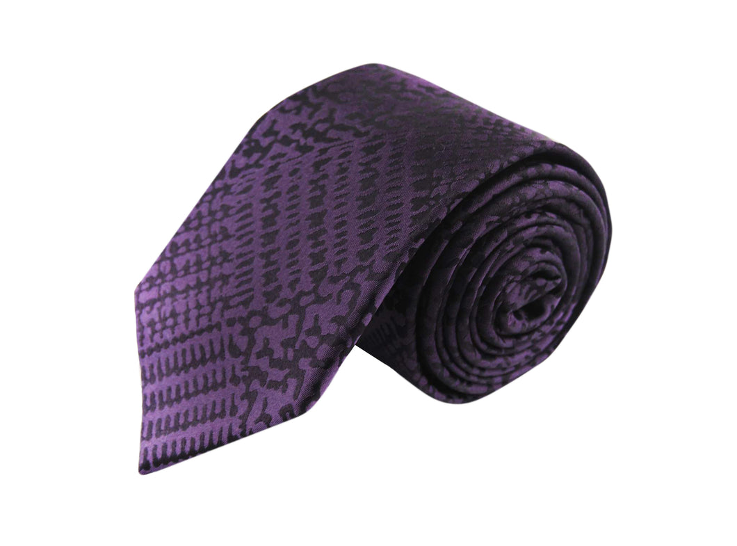 Tartan Purple 3 folds purple tie jacquard - Vignola