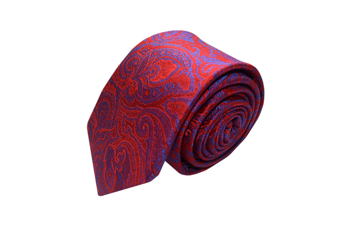 3 folds red paisley tie Jacquard - Scicli