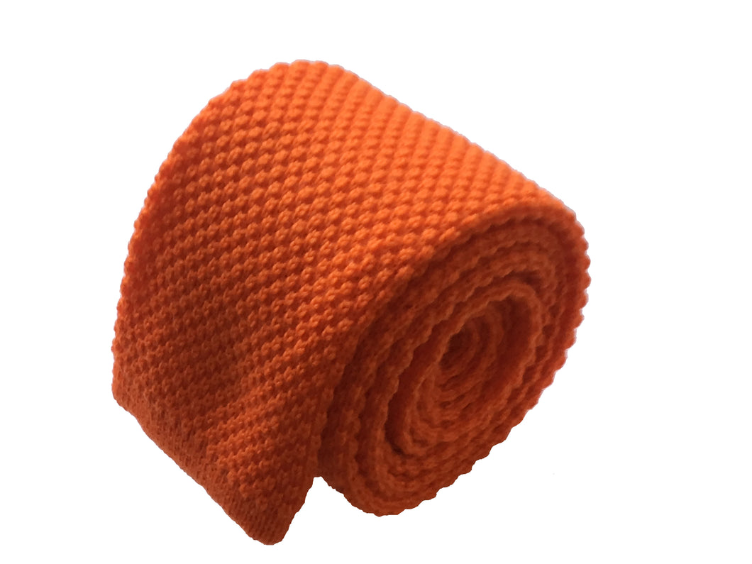 Orange solid knitted tie - Menaggio - Antica Seteria Comasca, Cravatta - Antica Seteria Comasca, Antica Seteria Comasca - Antica Seteria Comasca, seteriacomasca - Antica Seteria Comasca