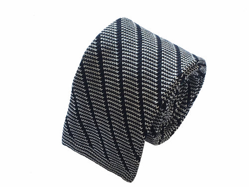 Black and white knitted tie - Lezzeno - Antica Seteria Comasca, Cravatta - Antica Seteria Comasca, Antica Seteria Comasca - Antica Seteria Comasca, seteriacomasca - Antica Seteria Comasca
