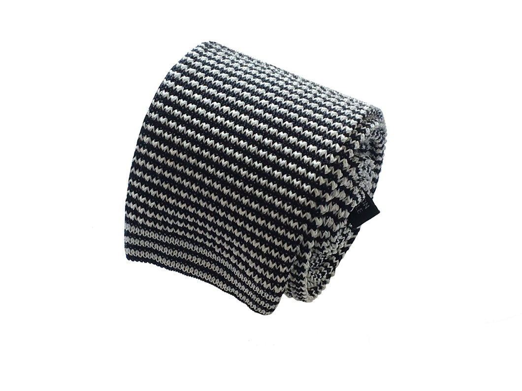 Black and white knitted tie - Cernobbio - Antica Seteria Comasca, Cravatta - Antica Seteria Comasca, Antica Seteria Comasca - Antica Seteria Comasca, seteriacomasca - Antica Seteria Comasca