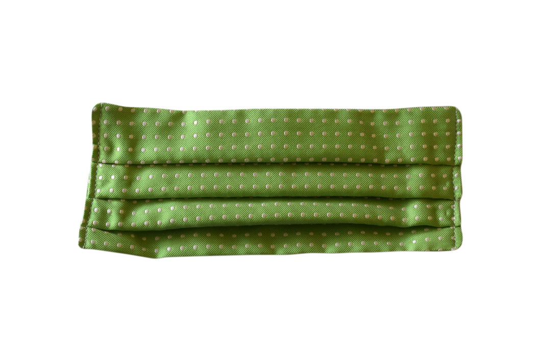 Silk jacquard Small green dots face mask