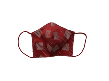 Silk jacquard shell face mask - Square red