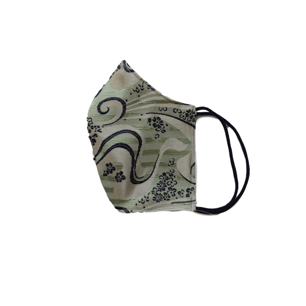 Silk jacquard shell face mask - Flower Green
