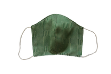 Silk jacquard shell face mask - Tartan green