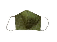 Silk jacquard shell face mask - Windrose green