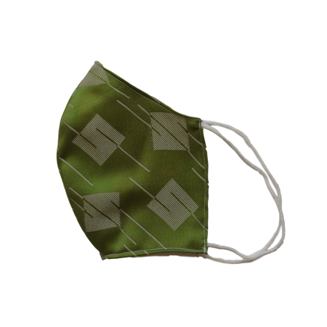 Silk jacquard shell face mask - Square green