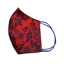 Silk Jacquard shell face mask - Milo Red & Blue