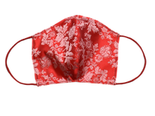Silk Jacquard shell face mask - Milo Red & pink