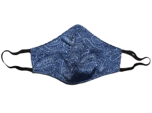Silk jacquard shell face mask - Lecce blue