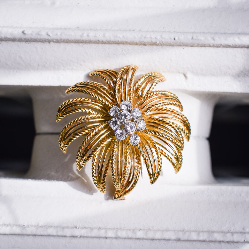 1950s Boucheron Diamond Flower Brooch