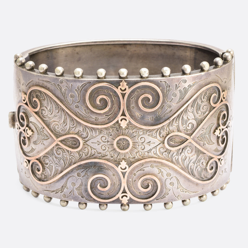 Victorian Silver Bangle with Rose Gold Inlay