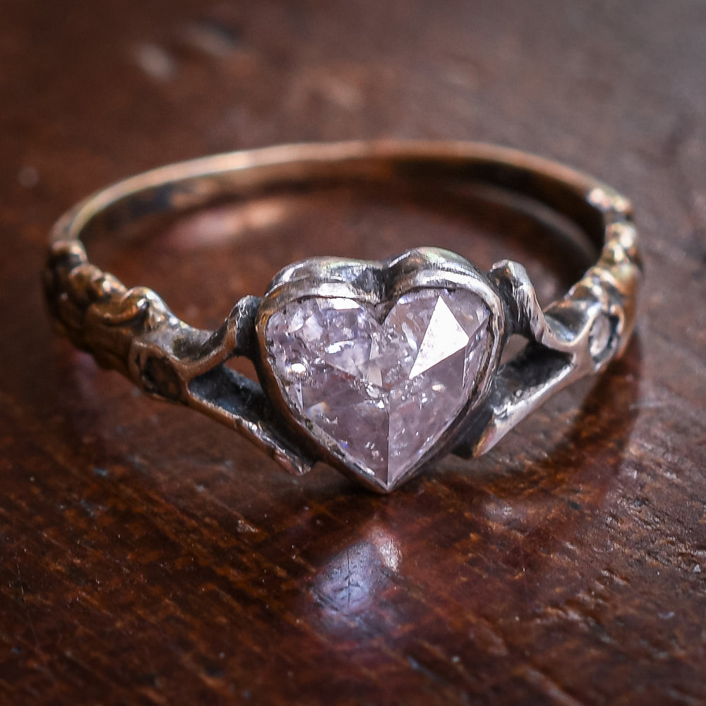 Georgian Pink Heart Diamond Solitaire Ring
