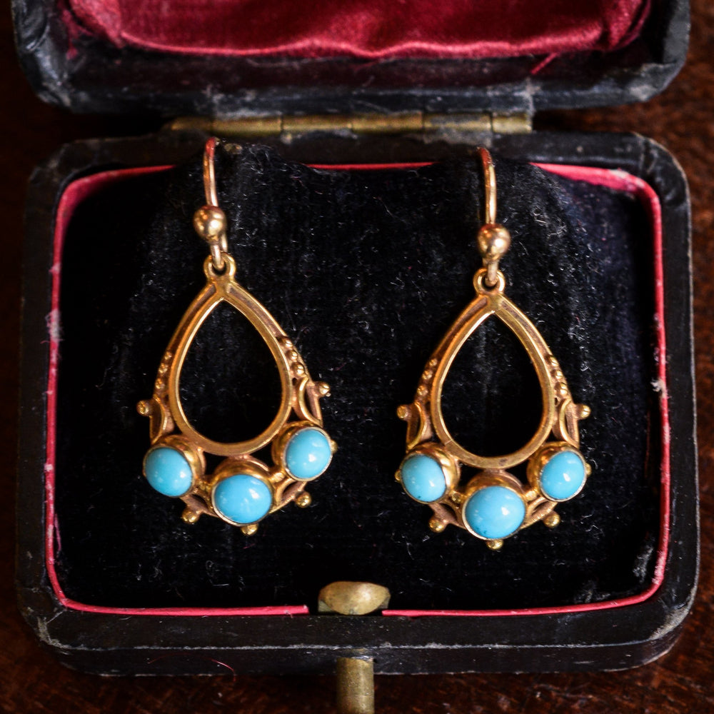 Victorian Persian Turquoise Teardrop Earrings